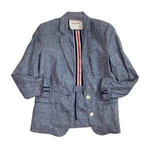 Anthropologie Cartonnier textured chambray blazer